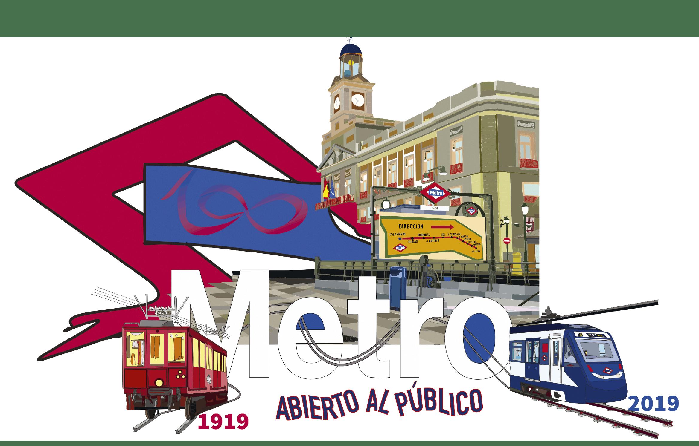 César Lap, ilustración para el centenario del metro de Madrid, 2019.