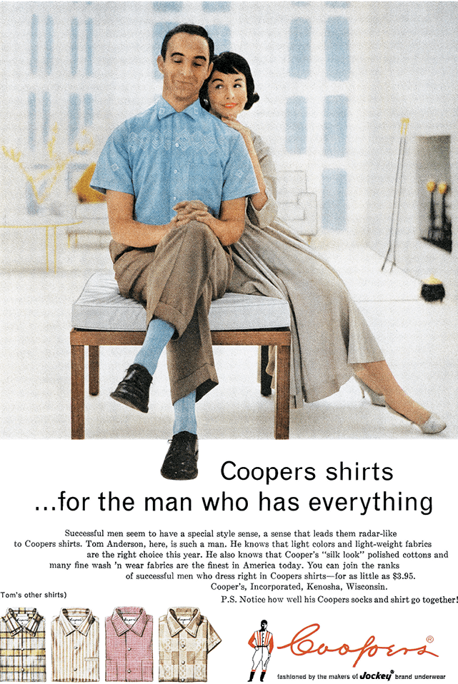 1958 U.S. advertisement for Coopers men's shirts