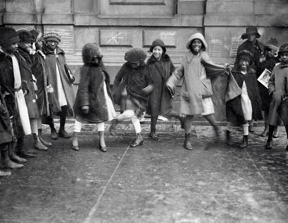 Young girls dancing the Charleston in Harlem, 1920