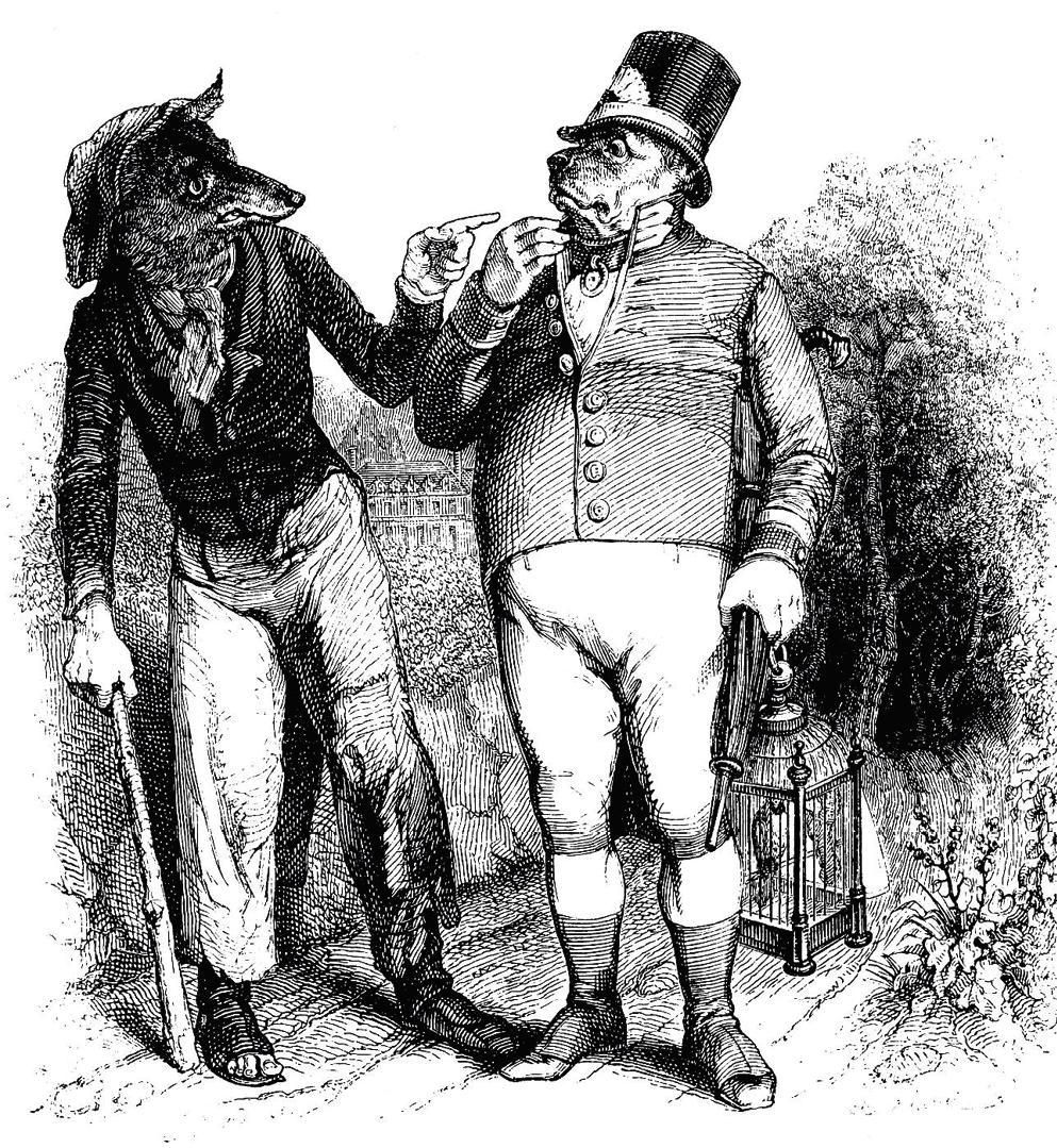 Jean-Jacques Grandville, Le Loup et le Chien, gravure, 1855.