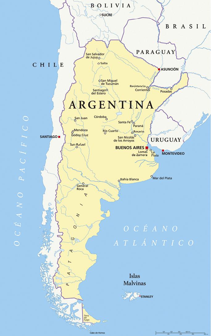 Mapa político de la Patagonia