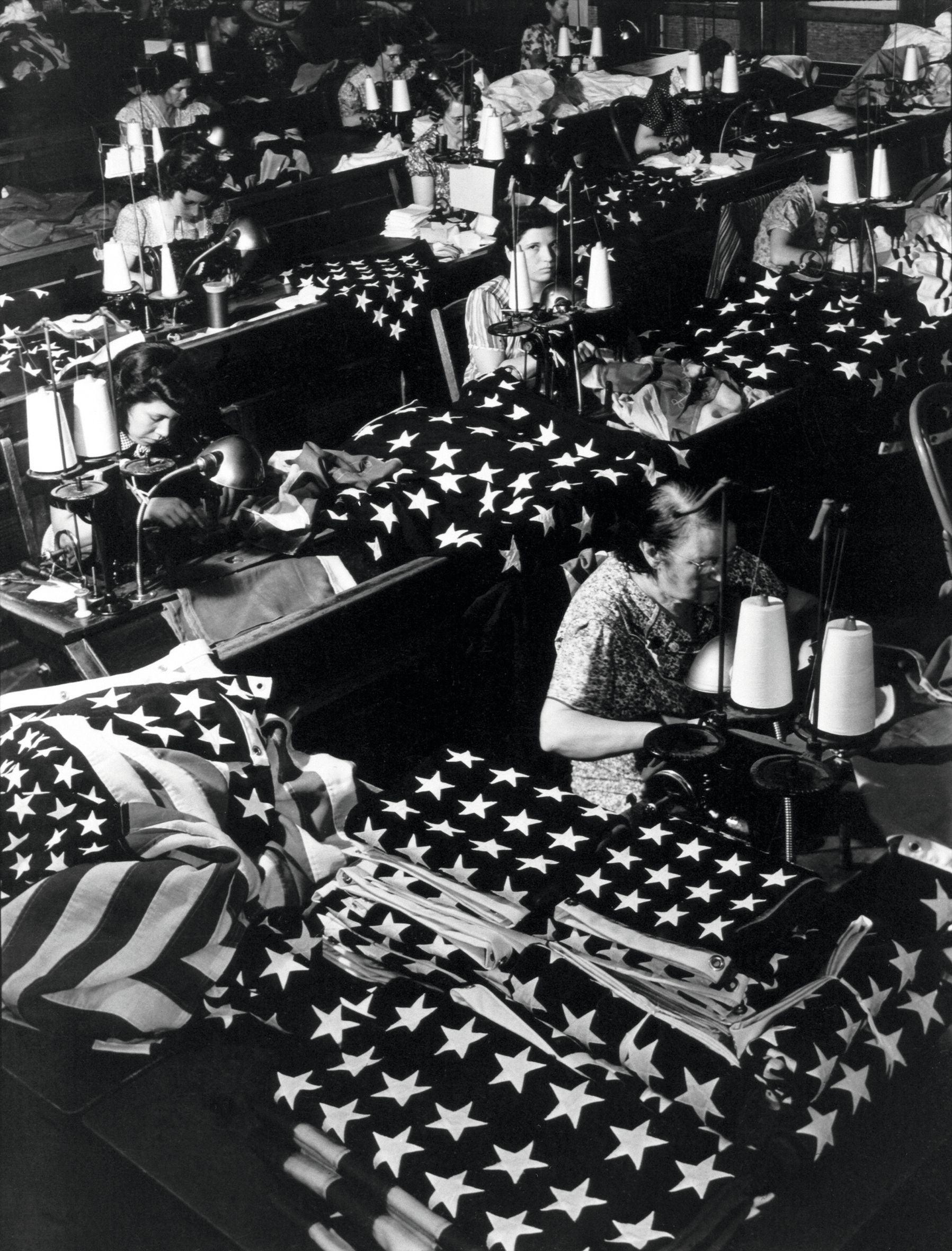 Women Sewing Flags, Margaret Bourke-White, 1940