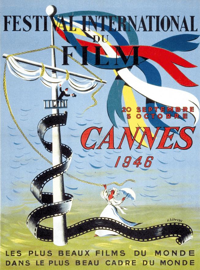 Rémy Hétreau, affiche du premier Festival de Cannes, 1946.