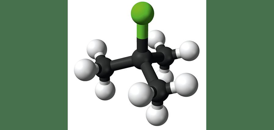 Modèle moléculaire du chlorure de tertiobutyle