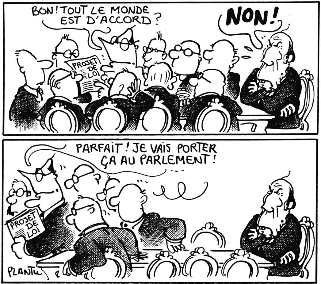 Caricature de la cohabitation par Plantu