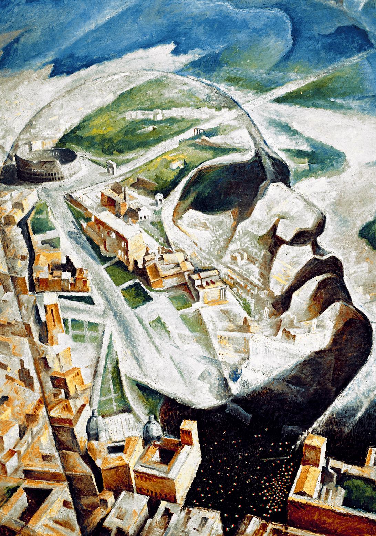 Alfredo Ambrosi, Benito Mussolini sur fond de forum impérial, 1930, huile sur toile, 124 × 124 cm, collection privée, Rome