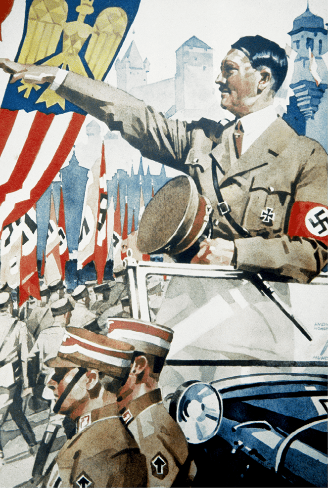 Hitler faisant le salut nazi devant une parade de soldats - Télégramme illustré envoyé en 1939