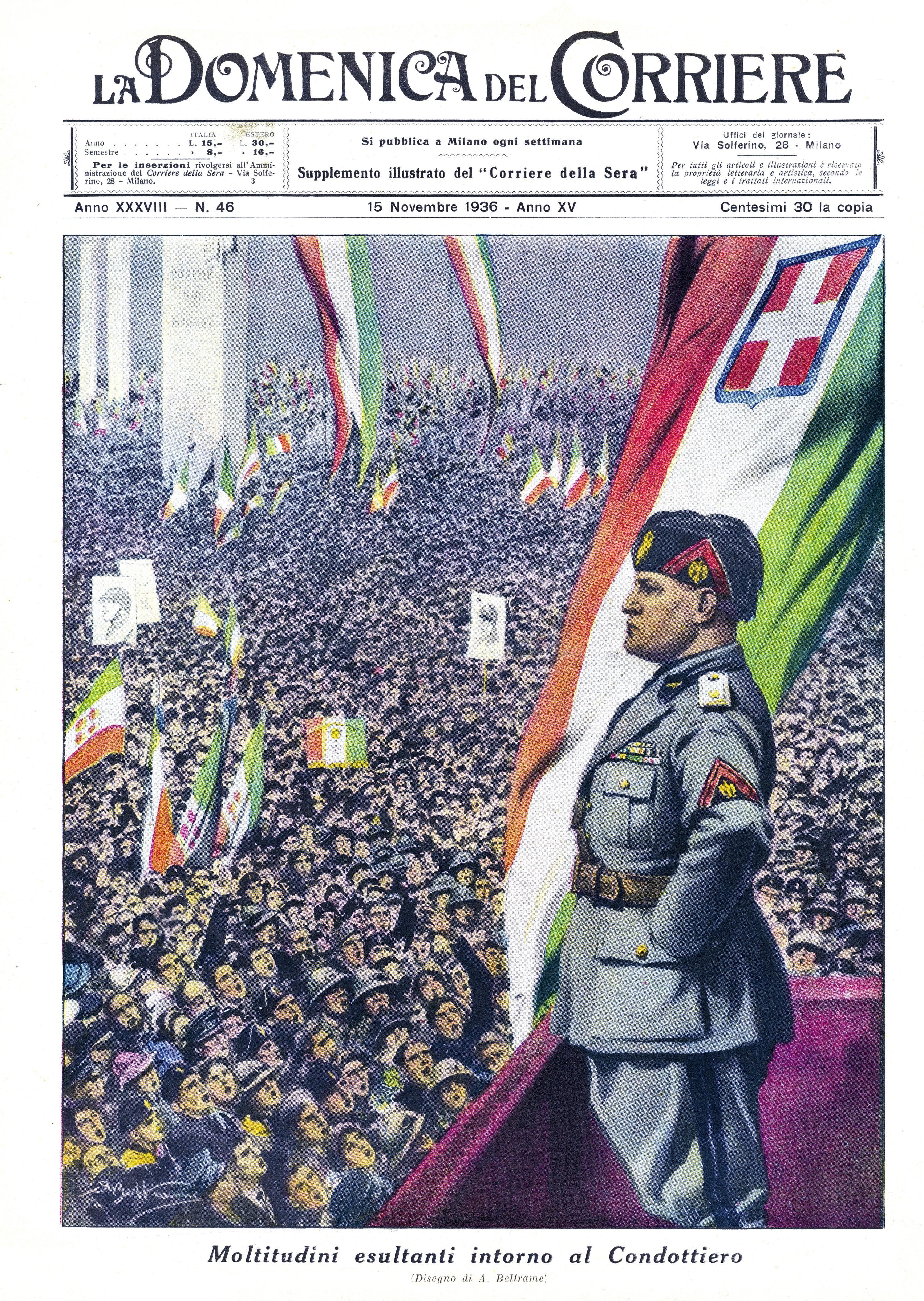 Mussolini faisant un discours à une foule - Une de La Domenica del Corriere, 16 novembre 1936