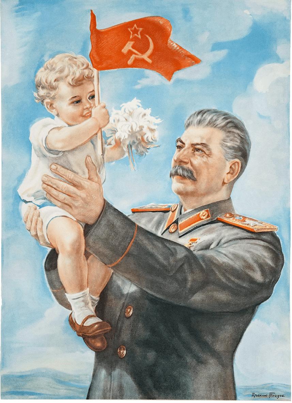 Irakli Toidse, La gentillesse de Staline illumine l'avenir de nos enfants, 1947, affiche, 61 × 43 cm