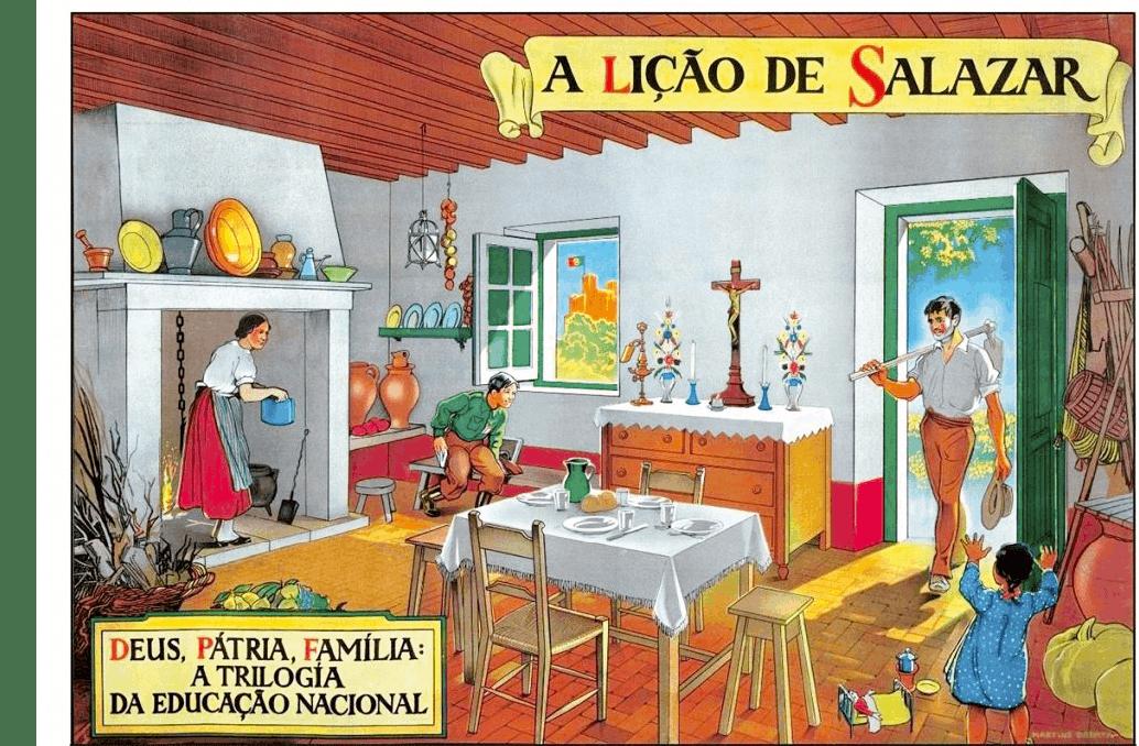 « Grâce à Salazar », série de cartes postales éditées en 1938 et diffusées dans les écoles