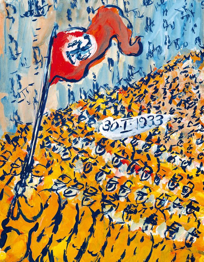 Charlotte Salomon (1917-1943), Accession au pouvoir de Hitler le 30 janvier 1933, gouache, vers 1941