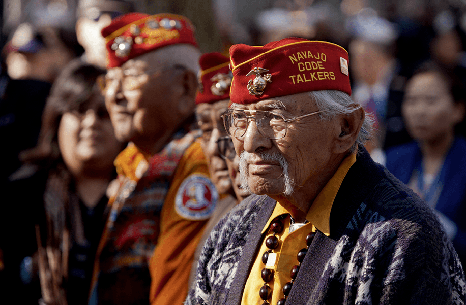 Navajo code talker veterans watching the opening ceremony for the 93rd New York City Veterans Day Parade