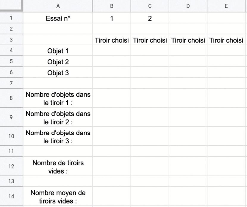 modèle de la feuille de calcule - méthode de résolution 1