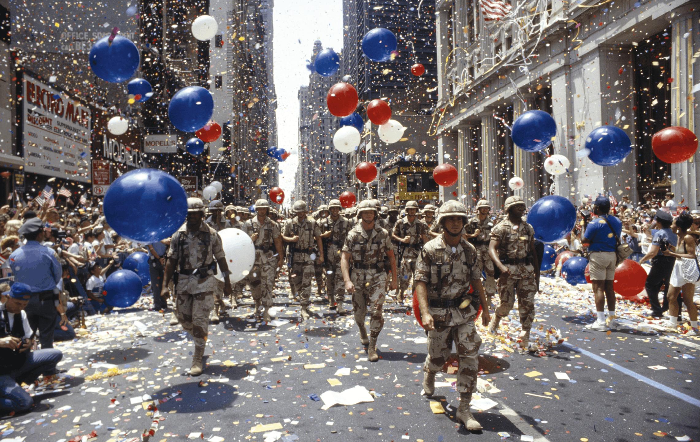 Joe Sohm, 10 juin 1991, photographie. Des soldats américains paradent à New York, au retour de la guerre du Golfe