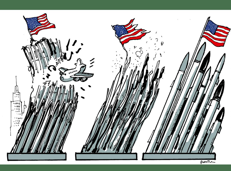 Plantu, caricature dans Le Monde, 16-17 septembre 2001.