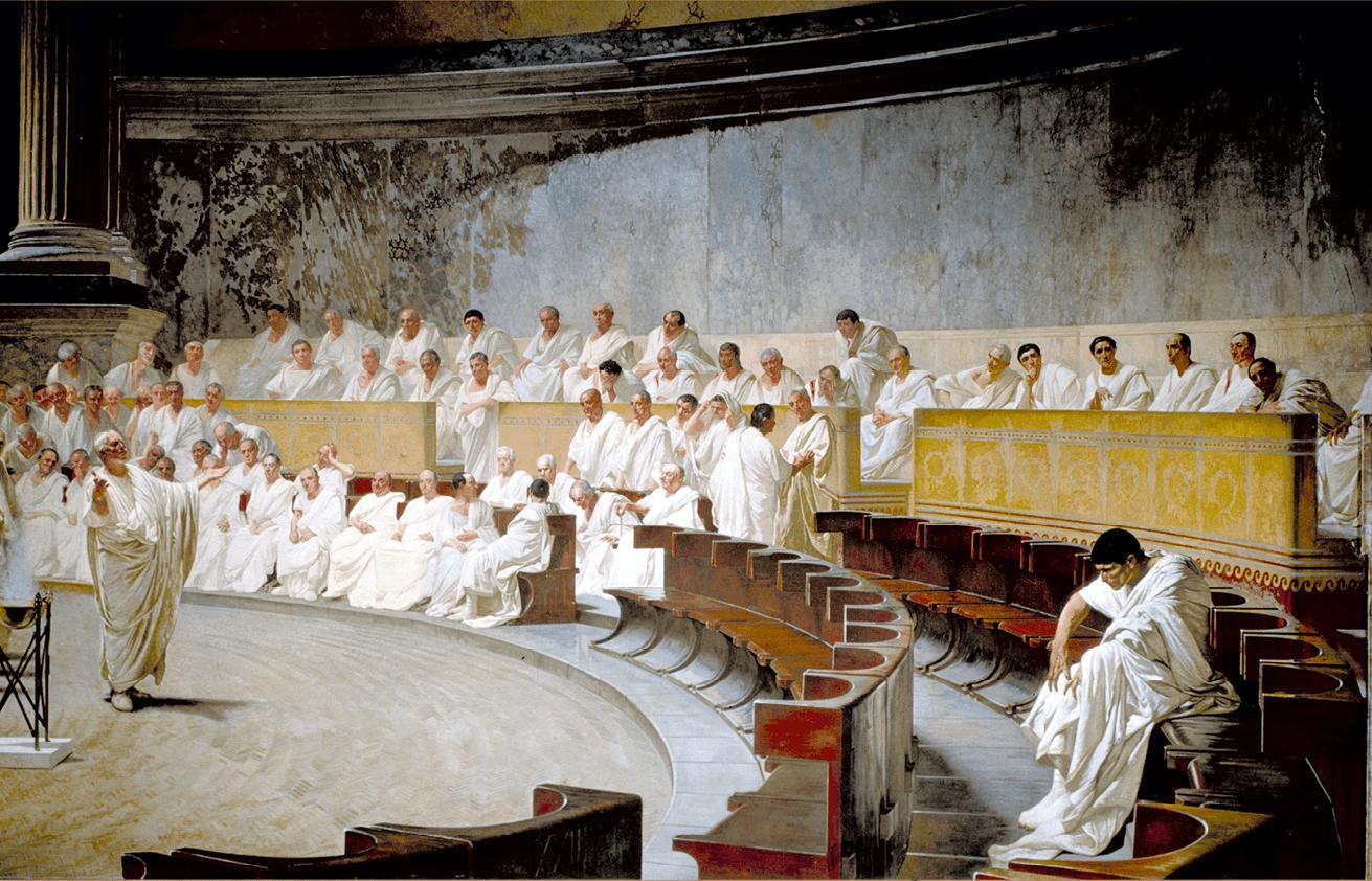 Cesare Maccari, Cicéron dénonce Catilina, 1889, fresque (détail), 4 × 9 m, Sénat italien, Rome.