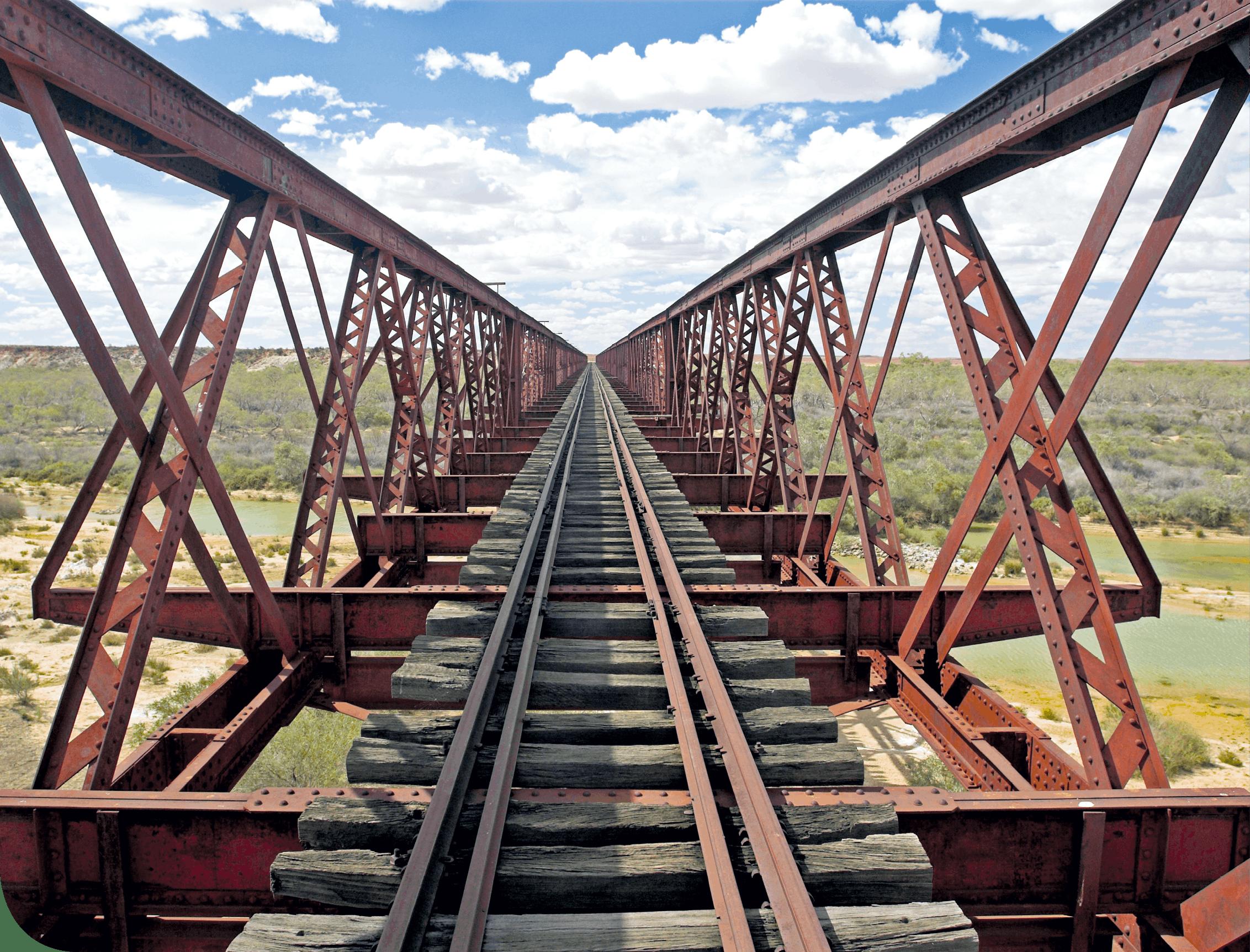 Voie de chemin de fer rouillée