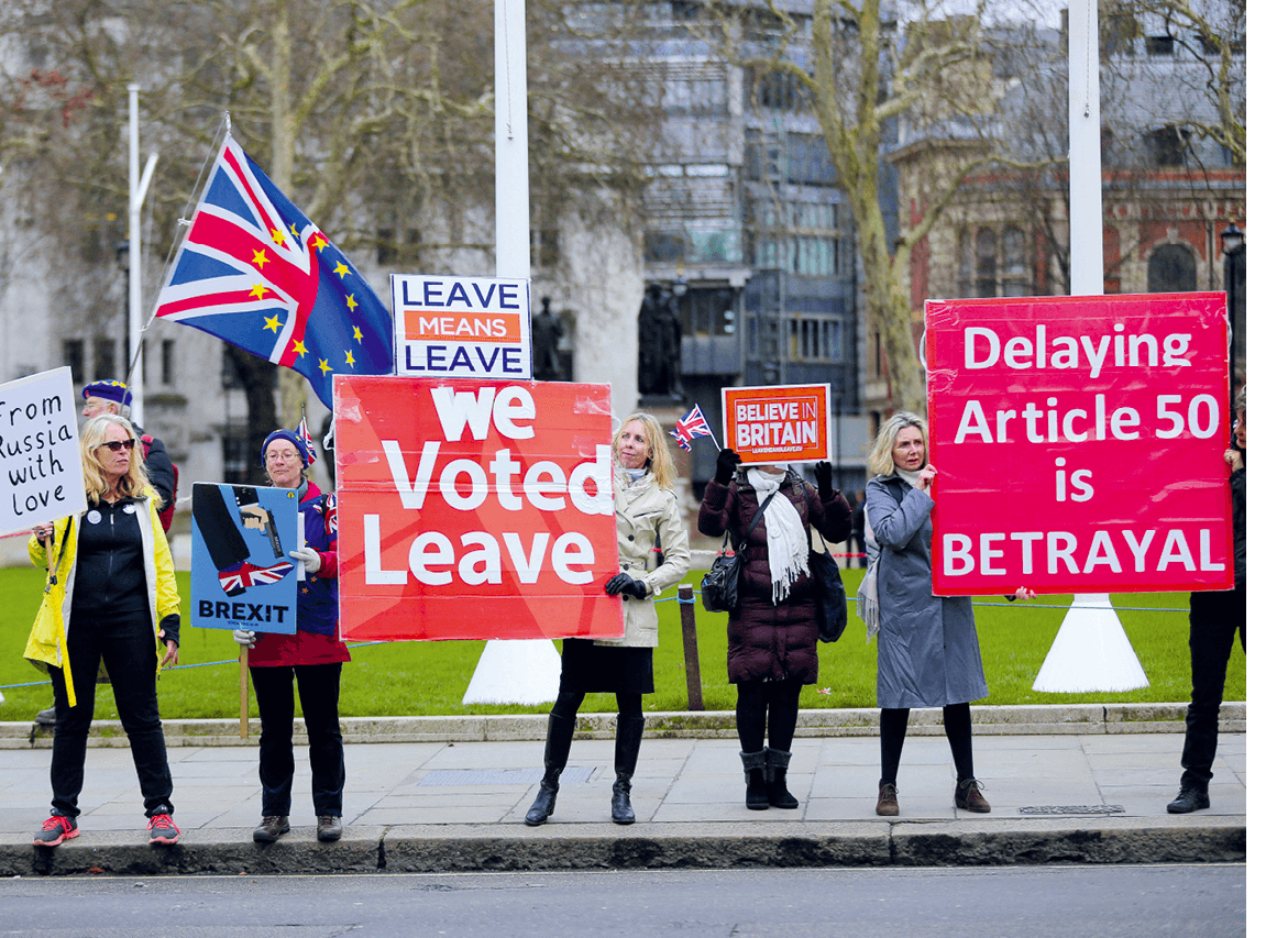 Photographie de manifestants pro-Brexit à Londres