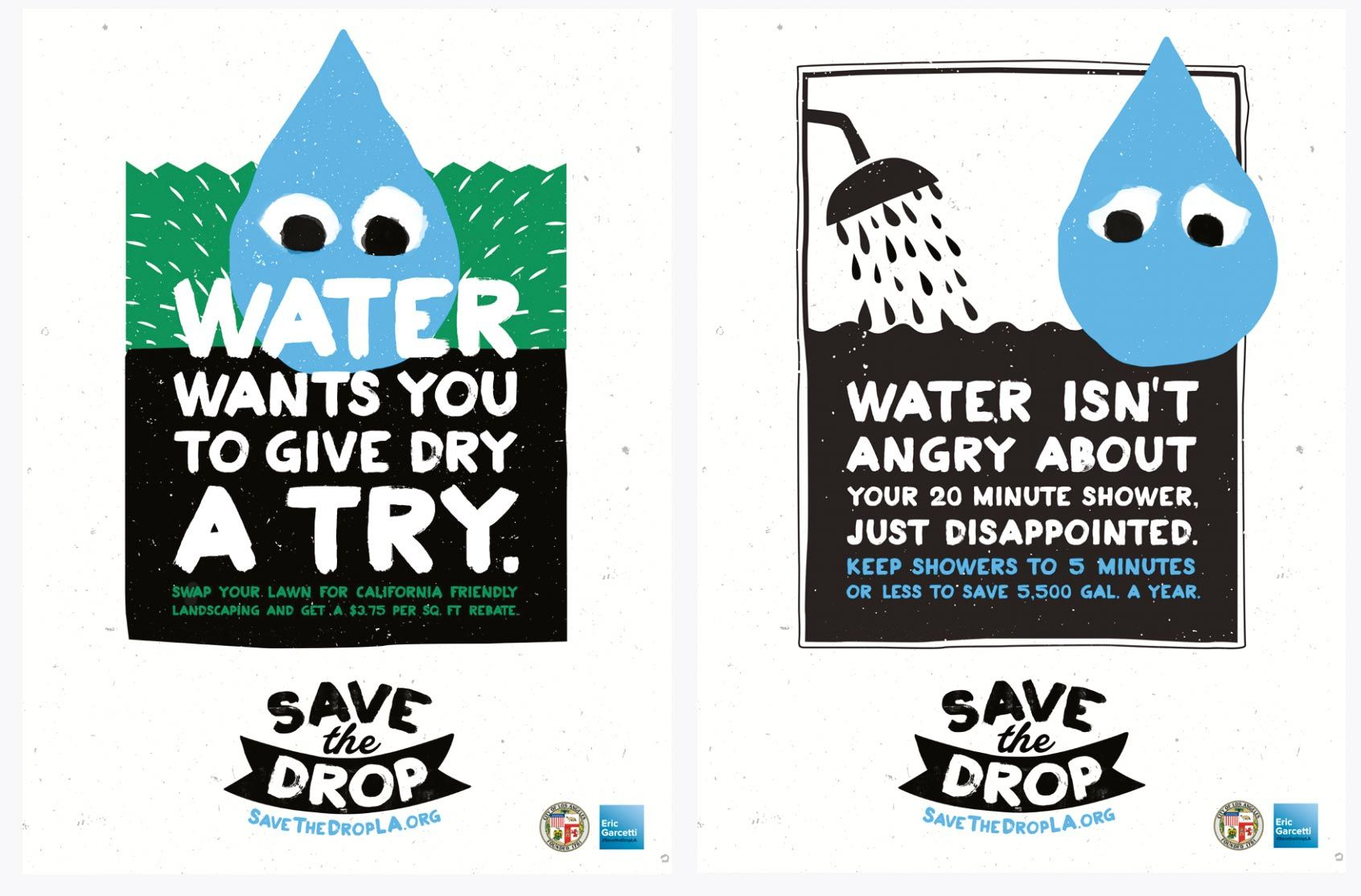 Campagne de sensibilisation « Save the drop », produite par la ville de Los Angeles, 2015