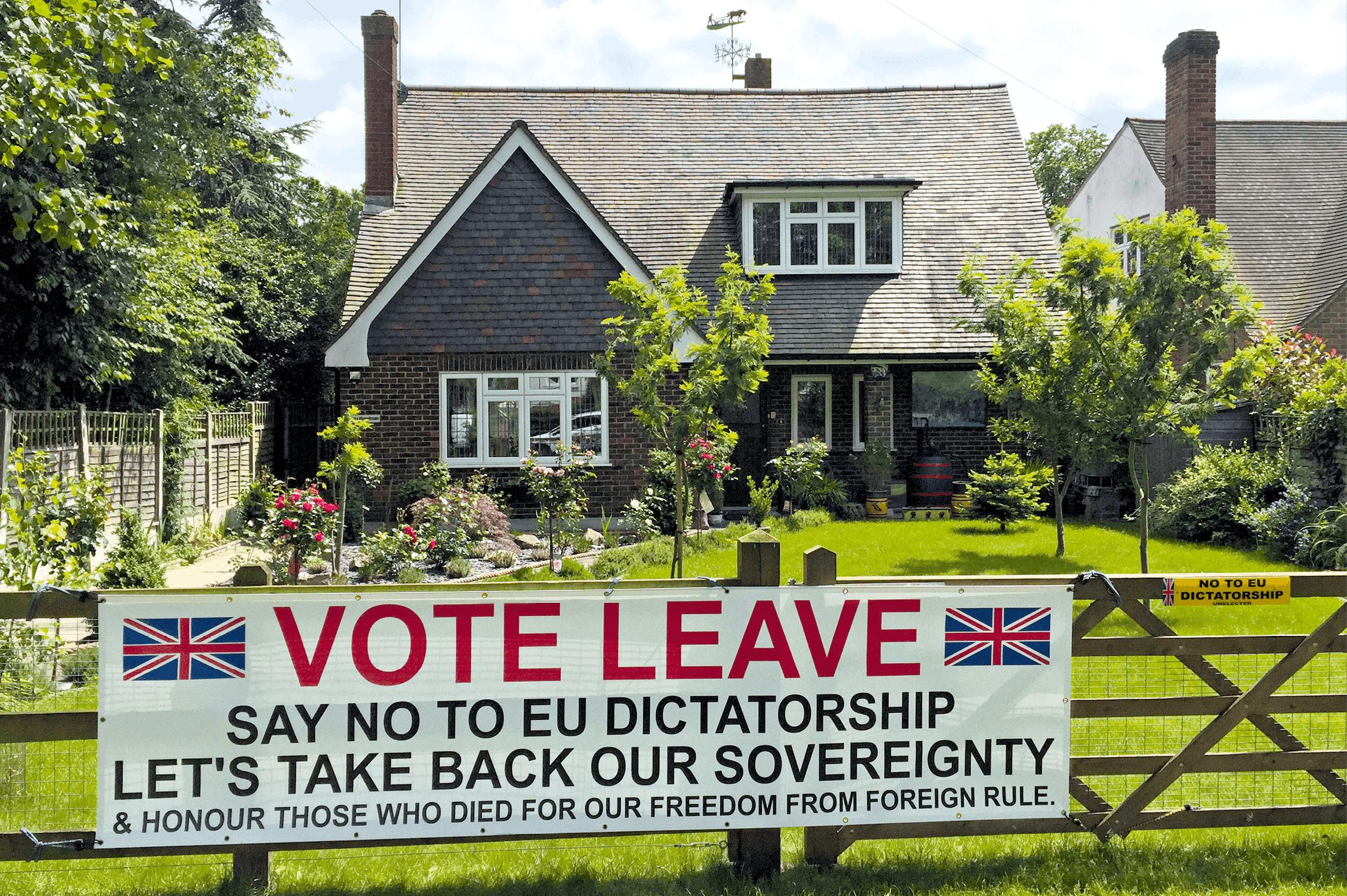 photo d'un panneau affiché à Epping, pour la sortie de l'UE