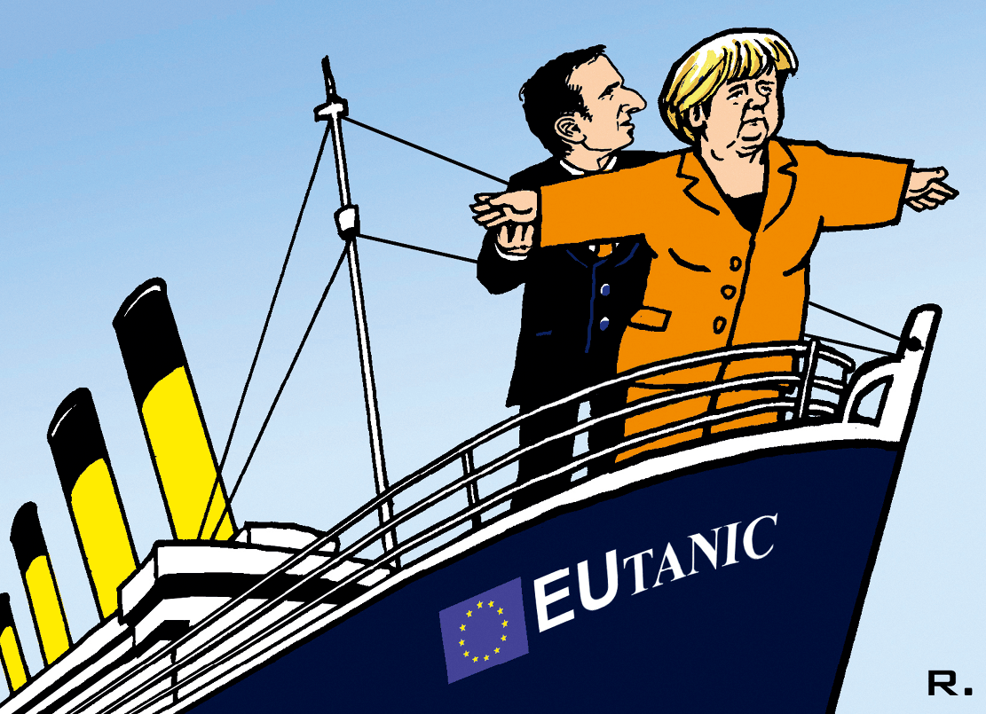 Caricature d'Emmanuel Macron et Angela Merkel