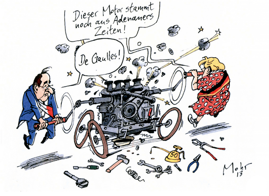 Caricature de François Hollande et Angela Merkel