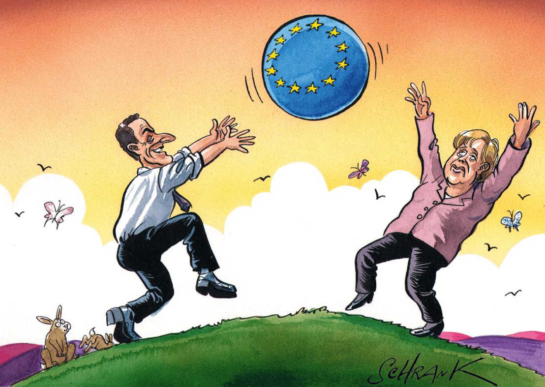 Caricature de Nicolas Sarkozy et Angela Merkel
