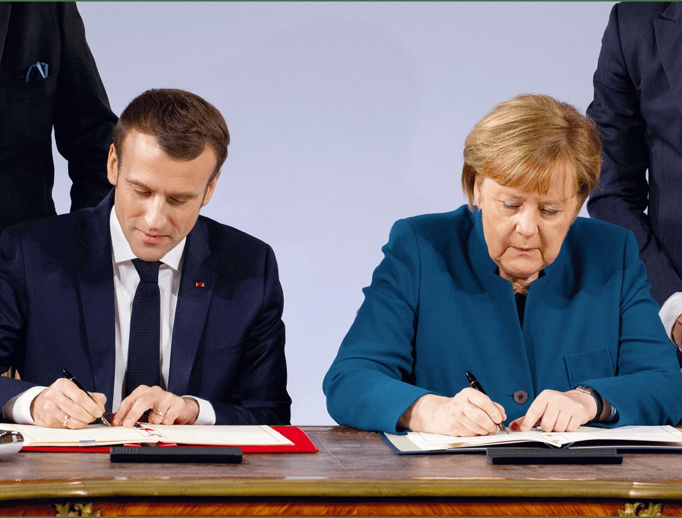 Photographie d'Emmanuel Macron et Angela Merkel lors de la signature du traité d'Aix-la-Chapelle