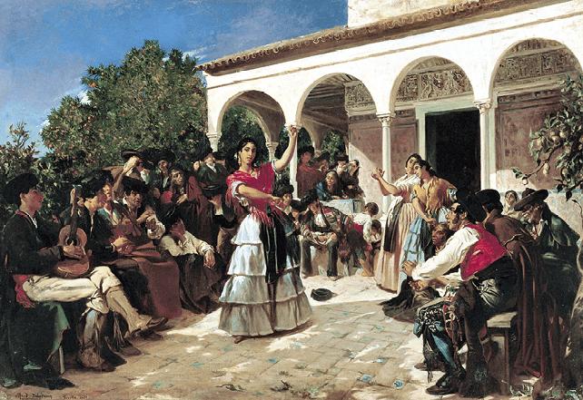 Bailarinas y músicos gitanos.