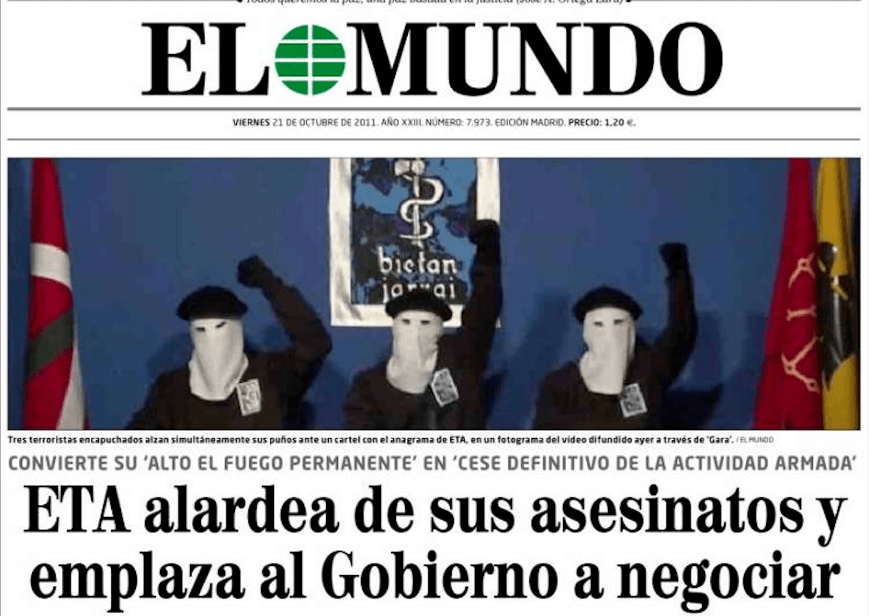 Portada del periódico El Mundo, 21/10/2011