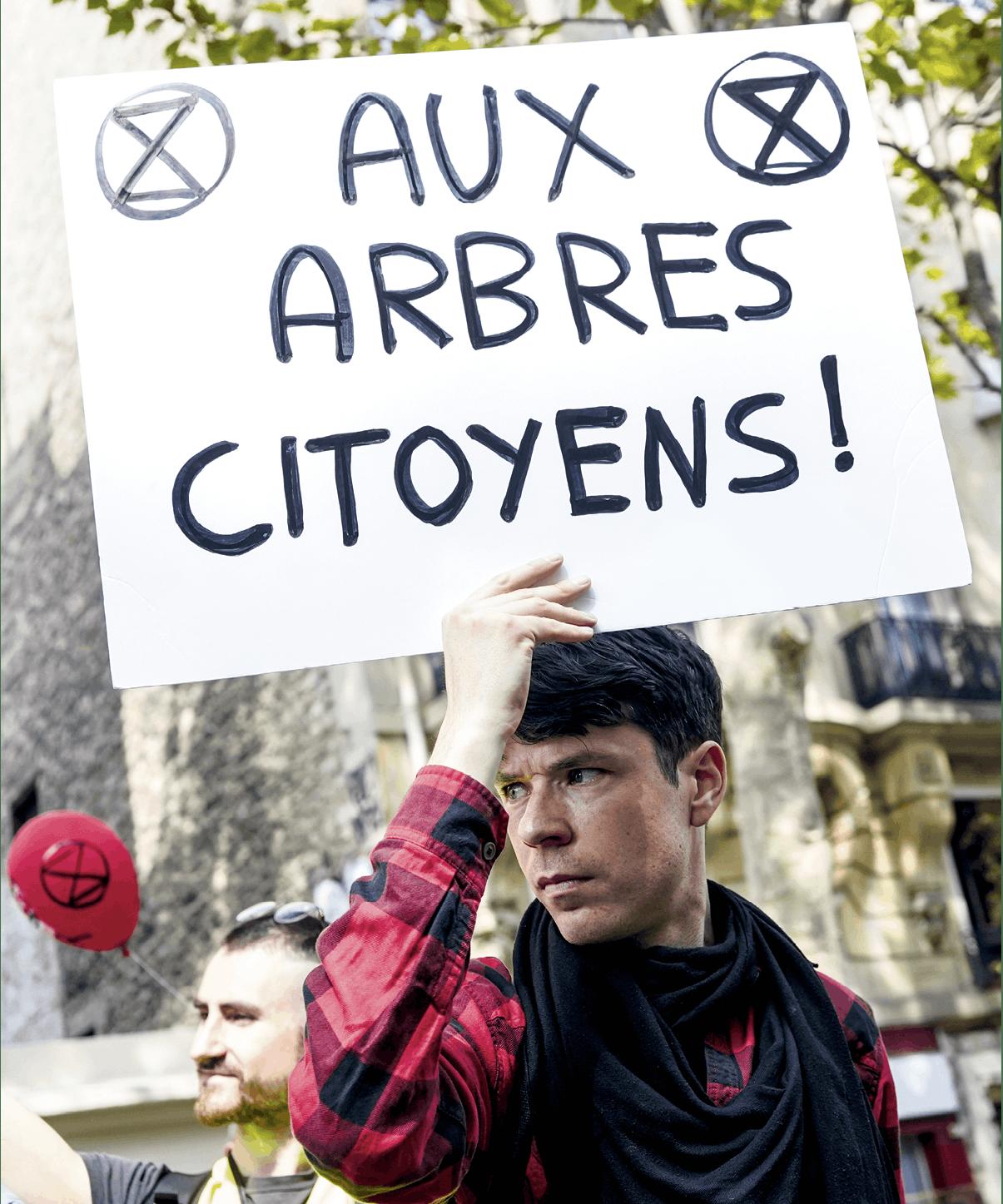 Laure Boyer et Hans Lucas, 2019, photographie : manifestant Aux arbres citoyens