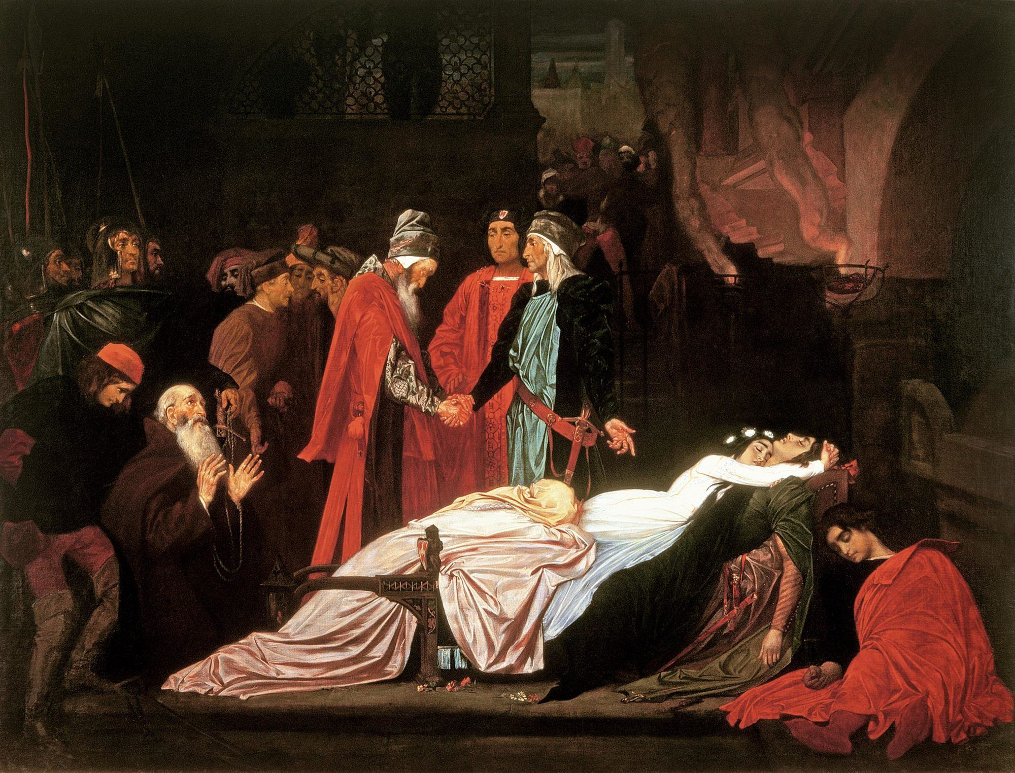 The reconciliation of the Montagues and the Capulets over the dead bodies of Romeo and Juliet