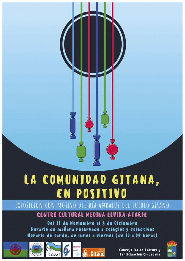 Cartel de la exposición «La comunidad gitana, en positivo», Ayuntamiento de Atarfe, 2018.