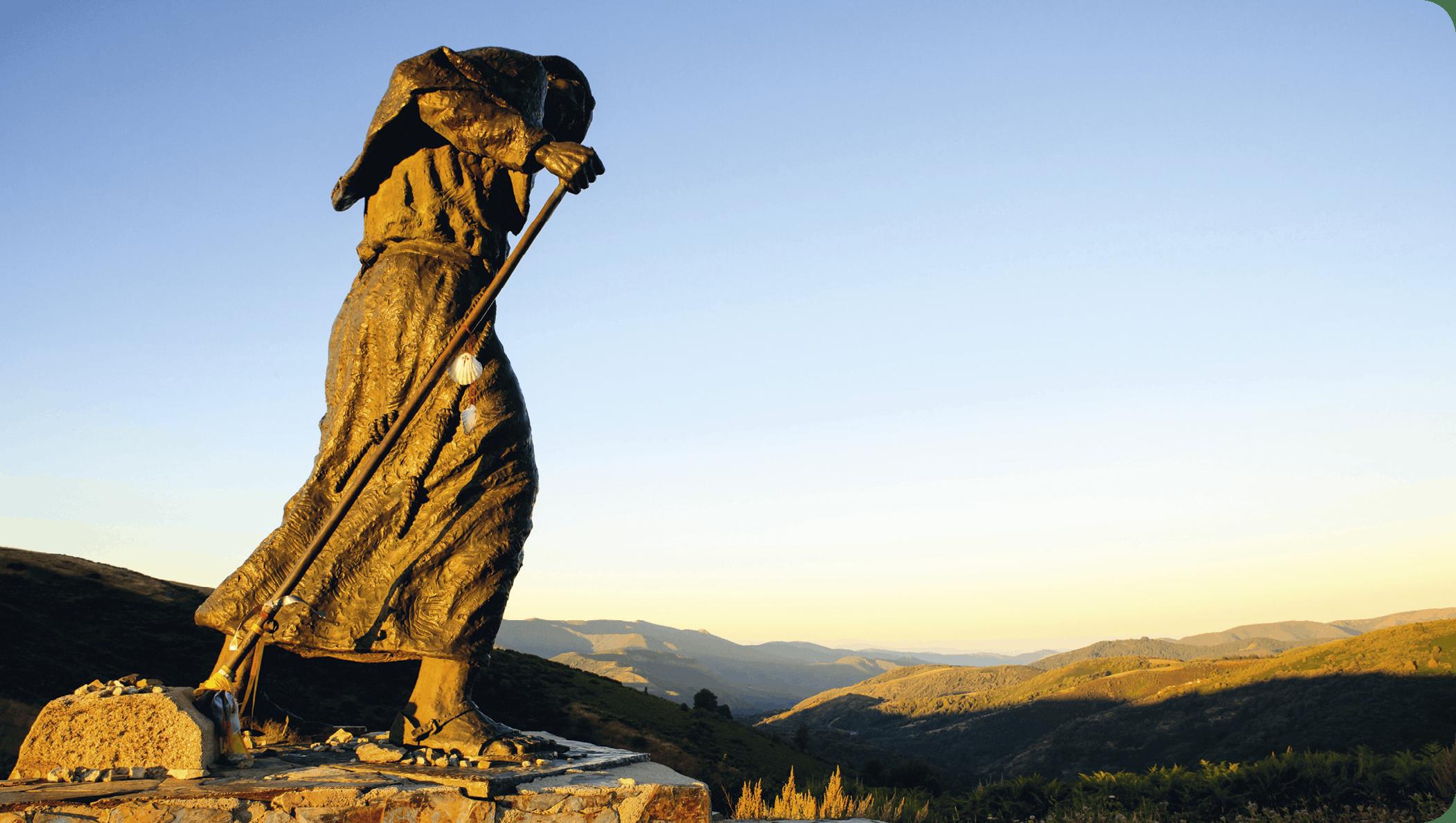 Estatua de un peregrino, Alto de San Roque, España