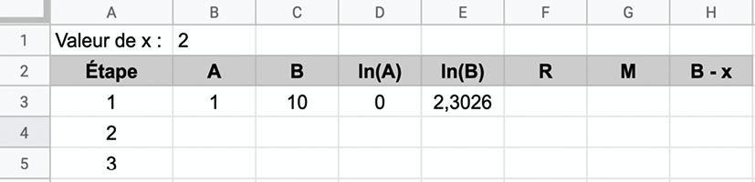 Logarithme népérien - Méthode de résolution 2 - Algorithme de Briggs