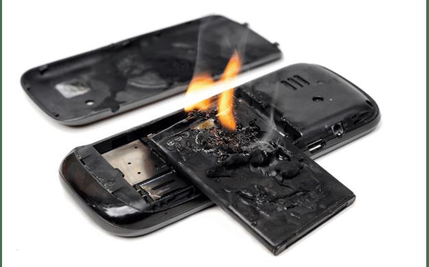 Batterie de portable en feu