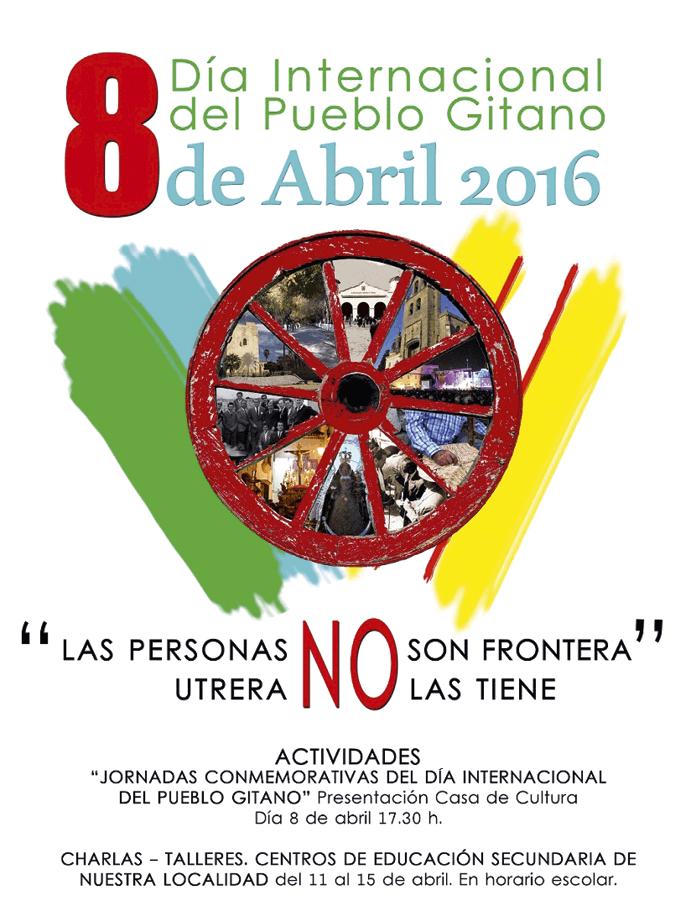 Cartel para el Día Internacional del Pueblo Gitano, ciudad de Utrera (Andalucía), 2016