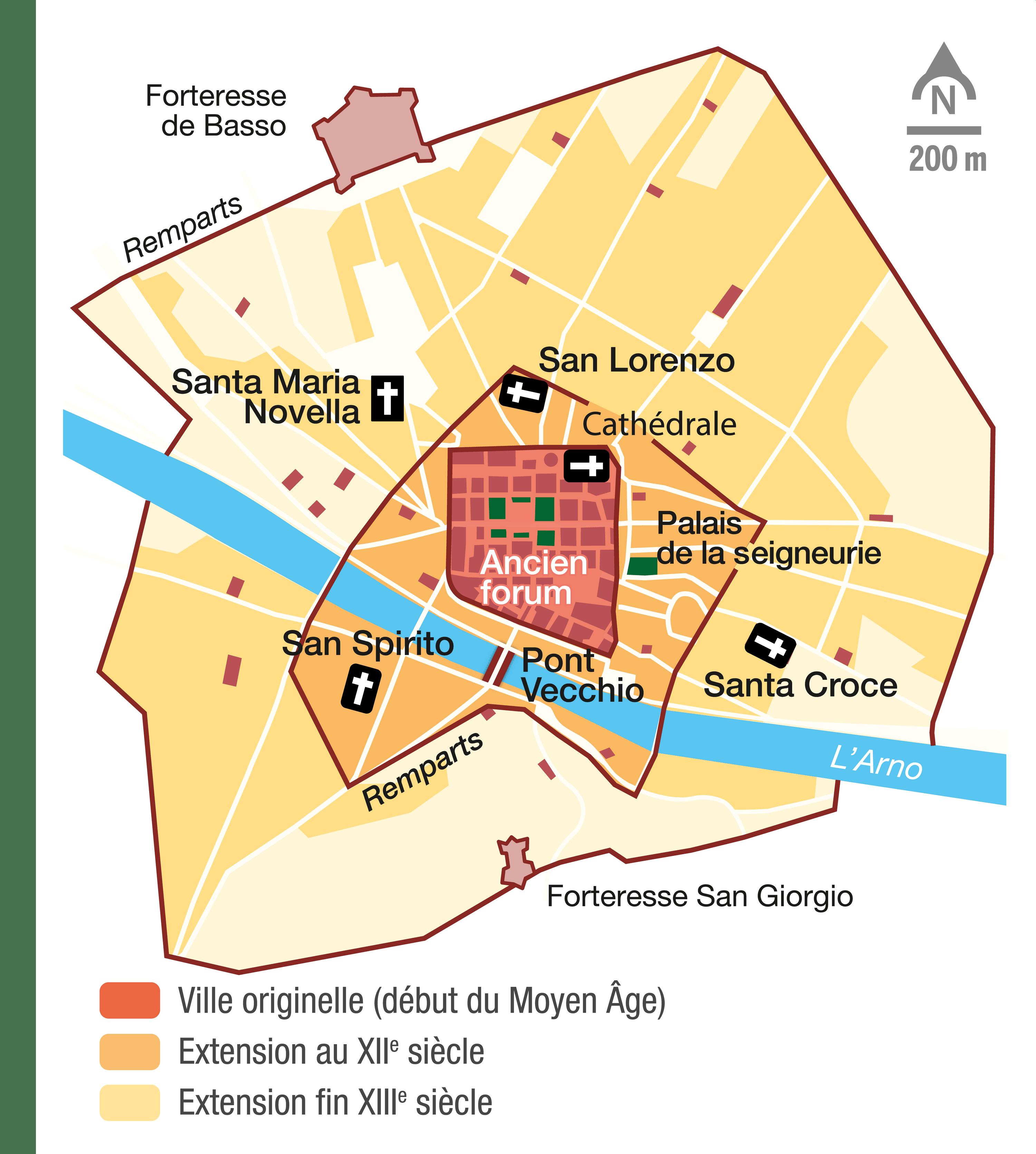 <stamp theme='his-green2'>Doc. 2</stamp> Plan de la ville de Florence au Moyen Âge