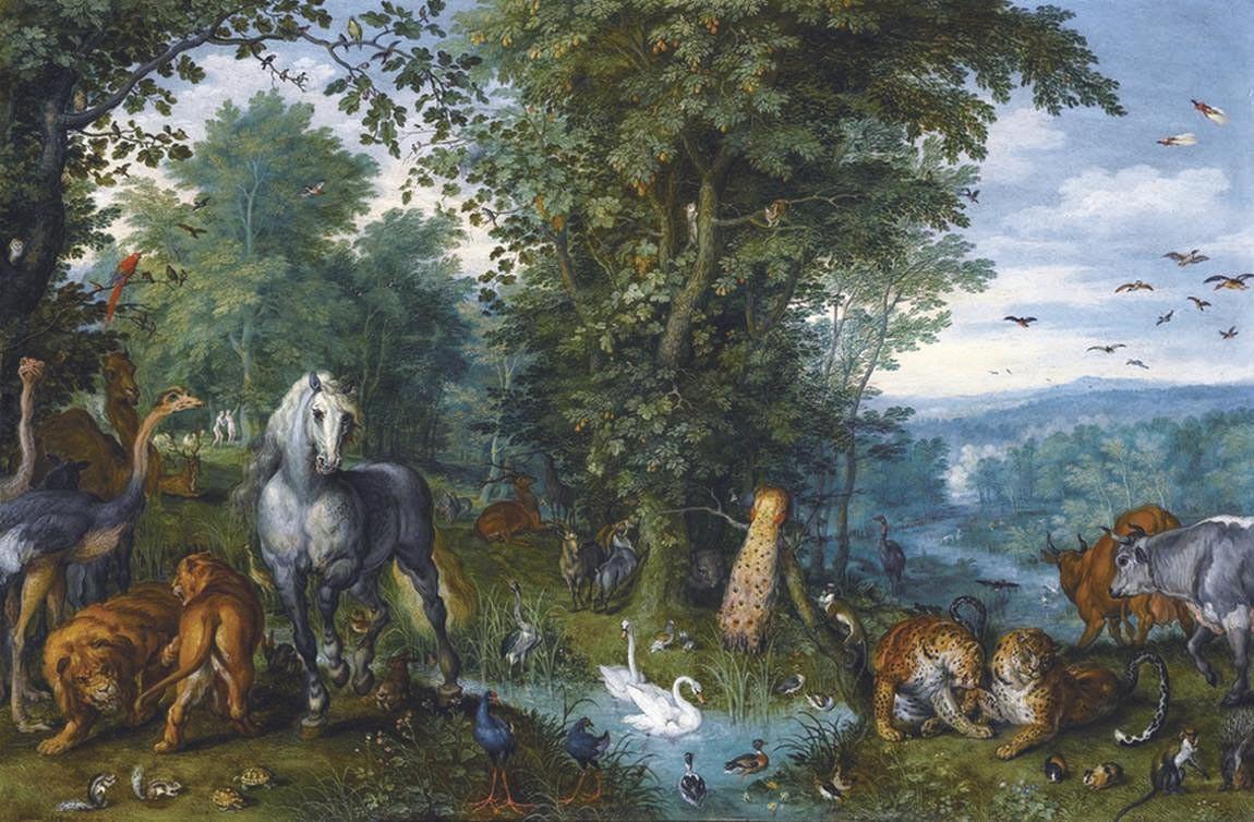 Le Jardin d'Eden avec la chute de l'homme