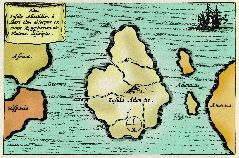 Carte localisant l'Atlantide.