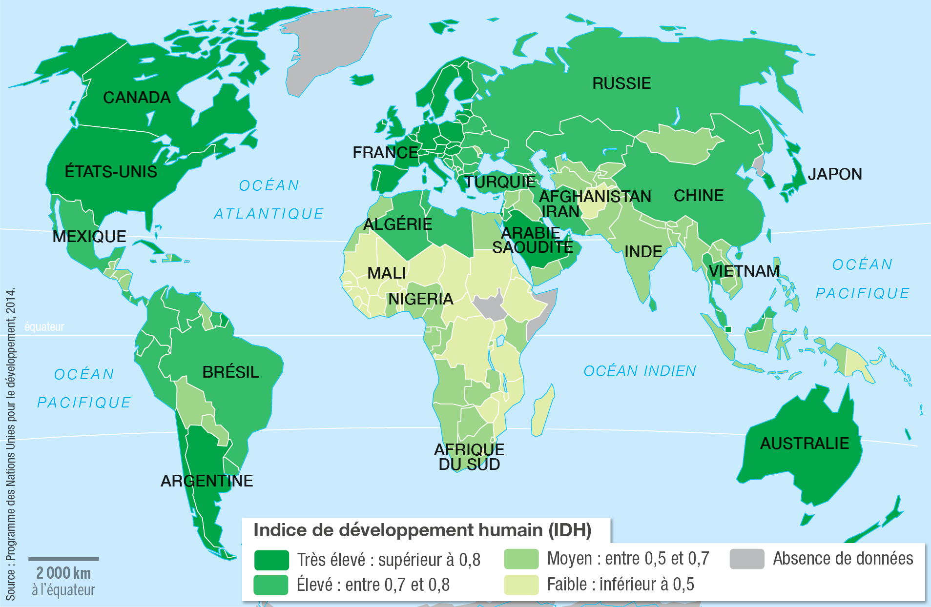 <stamp theme='his-green2'>Doc. 2</stamp> Les inégalités de développement dans le monde