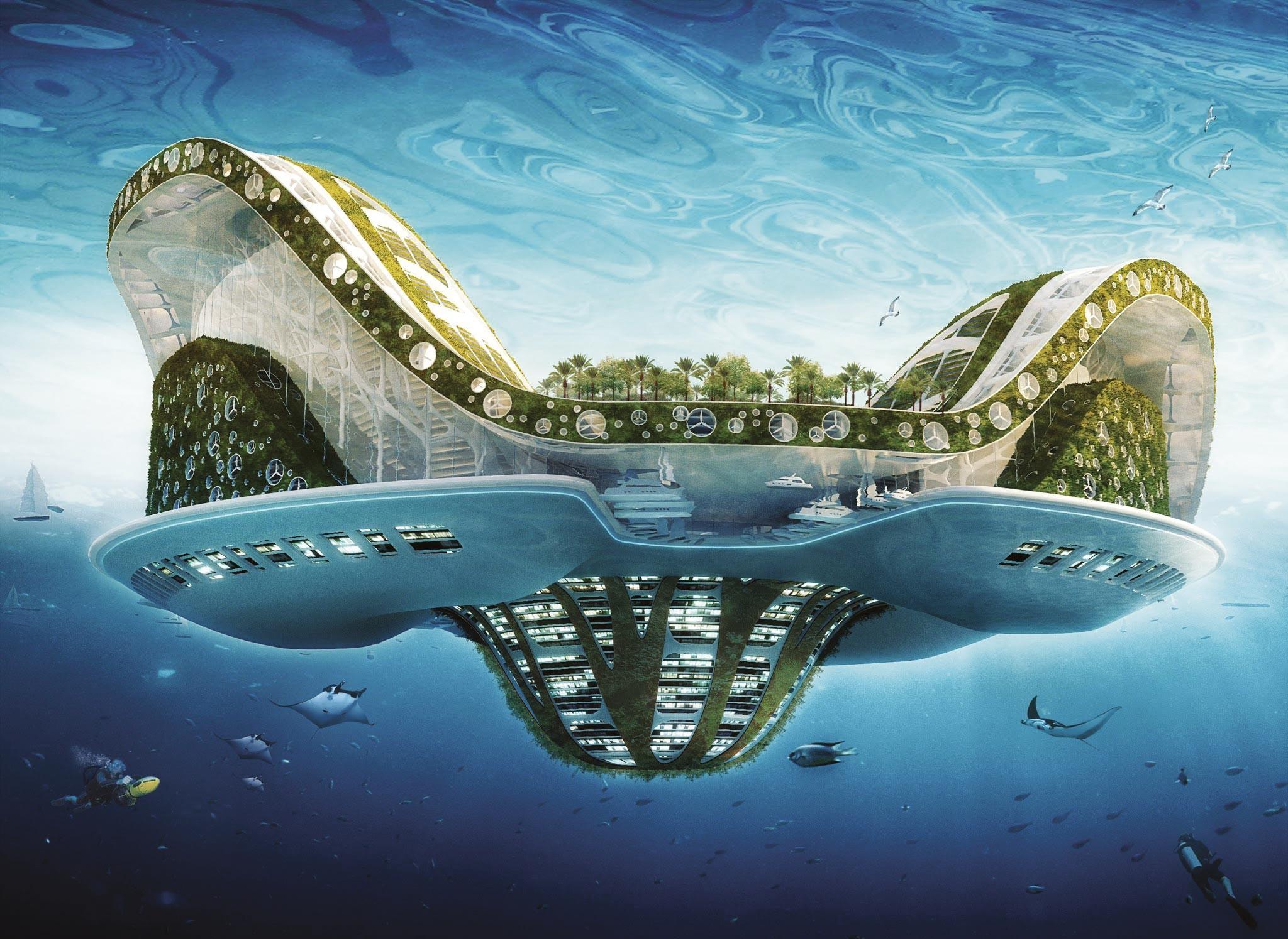 Projet de villeflottante pour lesréfugiés climatiques