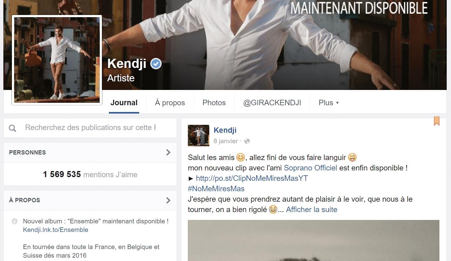 <stamp theme='his-green2'>Doc. 1</stamp> Profil facebook Kendji Girac