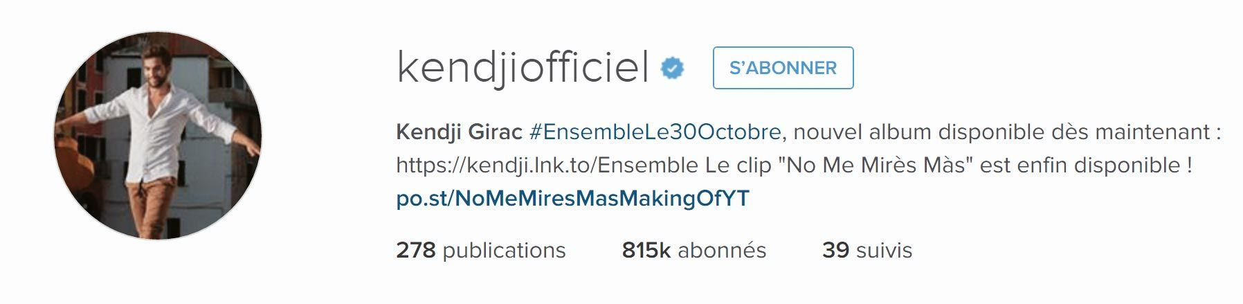 <stamp theme='his-green2'>Doc. 1</stamp> Profil Instagram Kendji Girac