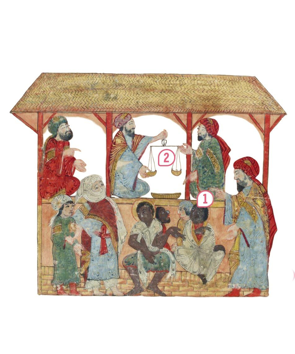 <stamp theme='his-green2'>Doc. 1</stamp> Une scène de marché aux esclaves dans un souk (XIIIᵉ siècle)