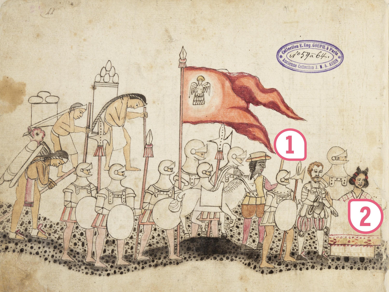 <stamp theme='his-green2'>Doc. 1</stamp> Une représentation aztèque de la conquête espagnole