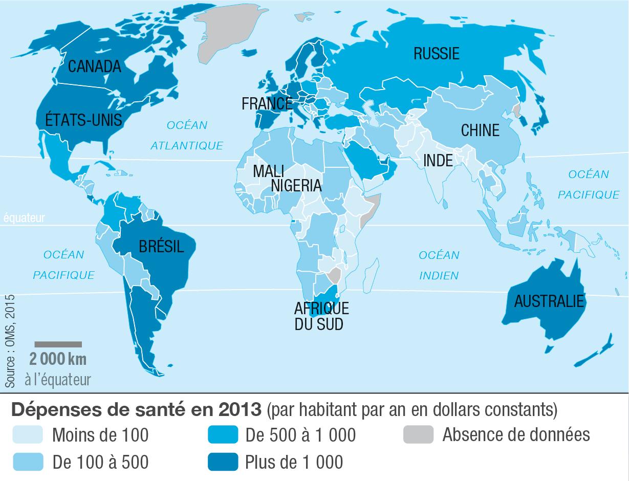 <stamp theme='his-green2'>Doc. 3</stamp> Les dépenses de santé par habitant dans le monde