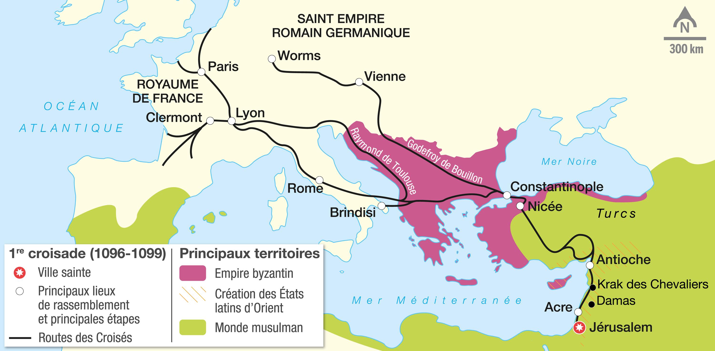 <stamp theme='his-green2'>Doc. 1</stamp> Le parcours de la première croisade (1096-1099)