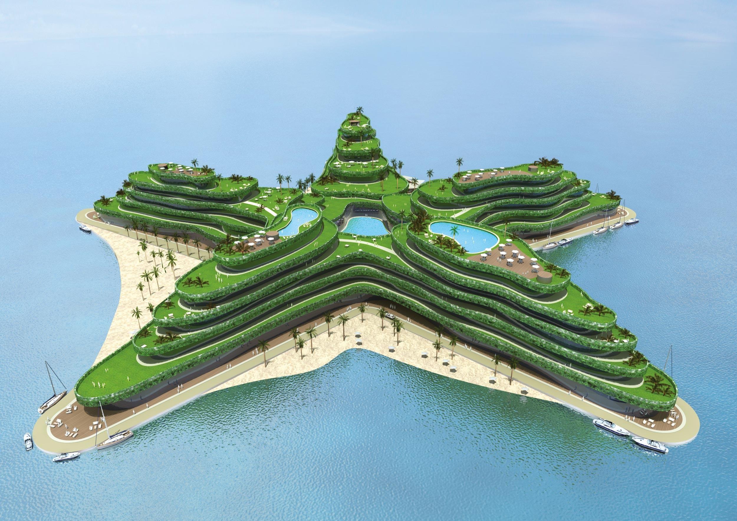Projet d'ile flottante « Lagoon 5 », aux Maldives.
