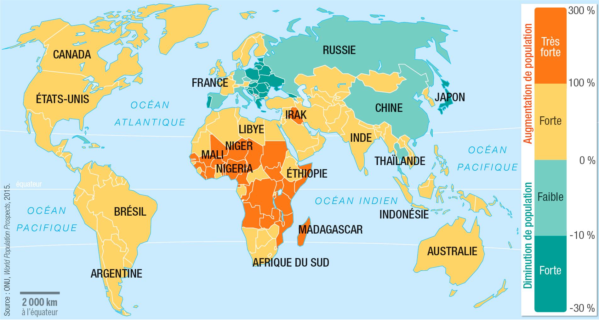 <stamp theme='his-green2'>Doc. 2</stamp> L'évolution de la population mondiale par pays de 2015 à 2050 (projection)